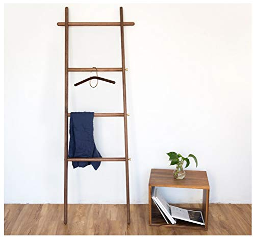 NIUZIMU kapstok, garderobe, massief houten ladder garderobe vloer creatieve kleerhangers trapezoid slaapkamer kledinghanger woonkamer badkamer hout handdoekhouder -123