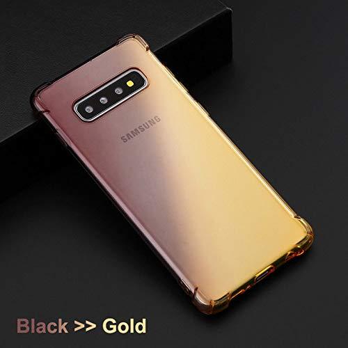 JLFDHR Gradient Color Soft Clear TPU Funda para teléfono móvil para Samsung Galaxy S10 Plus Note10 Pro Samsung A50 A70 Note 8 9 -para Samsung A20-OroNegro
