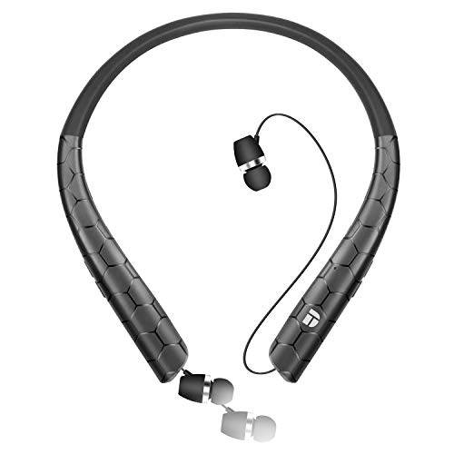 Bluetooth Headphones, Gardway Neckband Bluetooth 5.0 Wireless Headset with Retractable Earbuds, Hi-Fi Stereo Sound Earphones with Mic, Call Vibrate Alert and Carrying Bag(Black)