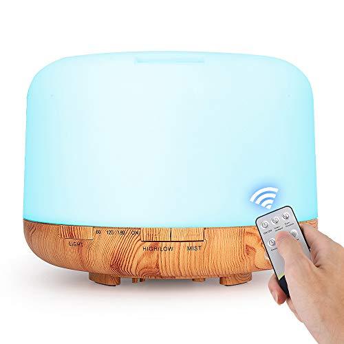 Humidificador de Aire a Control Remoto de 500ML,Difusor de Aceite Esencial,Generador de Niebla,Difusor de Aroma LED,Aromaterapia
