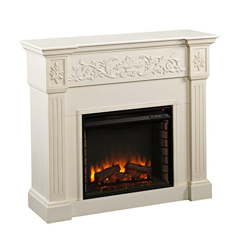 SEI Furniture Calvert Electric Carved Floral Trim Fireplace, Ivory