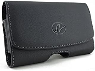 Black Leather Phone Case Side Cover Pouch Belt Holster Clip for Straight Talk Motorola Defy XT - Straight Talk Nokia E5 - Straight Talk Samsung Galaxy Centura - Straight Talk Samsung Galaxy Discover