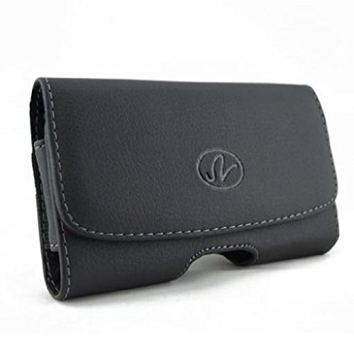 Black Leather Side Case Cover Pouch Holster Belt Clip w Loops for...