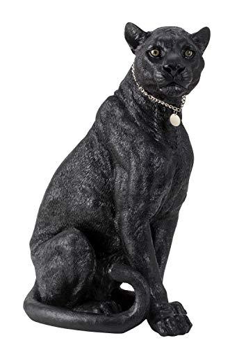 Lifestyle & More Riesige Skulptur Dekofigur schwarzer Panther aus Kunststein mit silbernem Anhänger Höhe 53 cm Breite 35