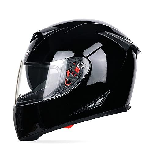 MOTUO Motorradhelm Integralhelm Damen Herren Racing Helm Incl. Verspiegeltem Visier,Schwarz,L
