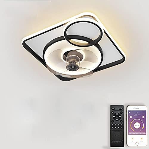 VOMI LED Lámpara Ventilador de Techo con Mando a Distancia Moderno Luz de Techo Invisible Regulable Intensidad Decoración de Interiores Sala de Estar Plafón de Techo Fan Lluminación 60W &50cm