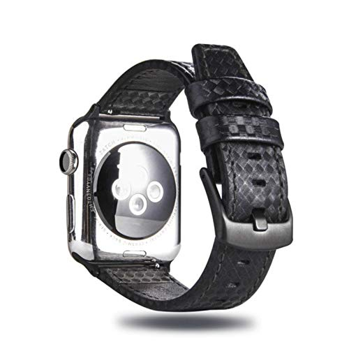 Bgfh para correa de reloj de Apple, correa de fibra de carbono de cuero de lujo a la moda para Apple, correa de reloj con hebilla para reloj IWatch 38 42 40 44 MM