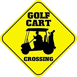 Ralally Golf Cart Crossing Funny Metal Aluminum Novelty Sign - 12x12 inch