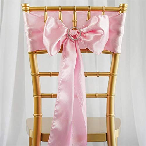Efavormart 25pcs Pink Satin Chair Sashes Tie Bows for Wedding Events Decor Chair Bow Sash Party Decoration Supplies 6 x106