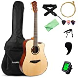 MIRIO 41 Inch Acoustic Guitar for Beginner Starter Adult, Full Size Spruce Top Cutaway Acustica Guitarra Bundle Kit with Gig Bag Tuner, Strings Tuner Capo Strap Picks and Polishing Cloth