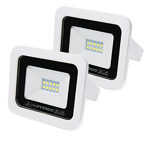 AOMEX Faretti LED da esterno da 10W alta luminosità Faro led Impermeabile IP65 per Giardino Cortile Lampada a Risparmio Energetico Illuminazione per Esterno/Interno 2 Pezzi (Bianco Naturale/4200k)