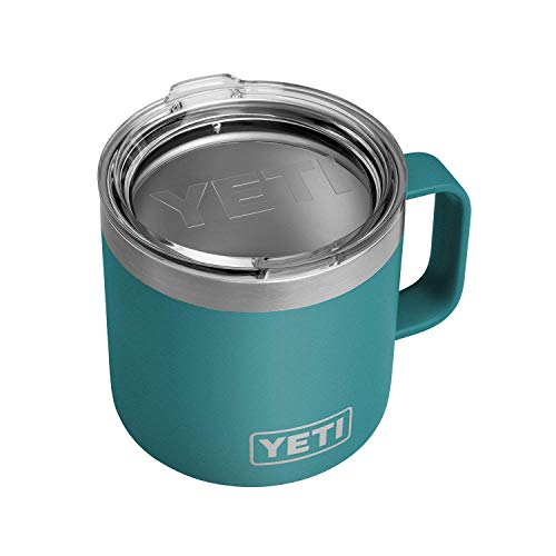 YETI Rambler 14 oz Mug, Stainless Steel, Vacuum Insulated with Standard Lid, River Green