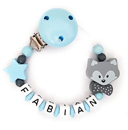 Schnullerkette mit Namen Gravur Fuchs mit Schleife Stern Geburt Taufe Geschenk Silikonring individuell Blau Grau | Junge Mädchen Namenskette