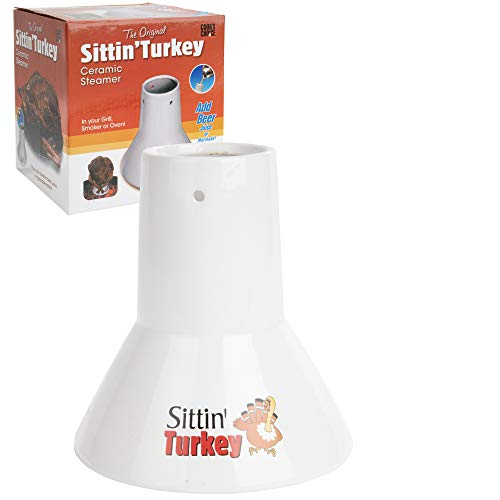 Ceramic Steamer Beer Can Turkey Roaster- Sittin' Turkey Marinade Barbecue Cooker- Infuse delicious BBQ flavor