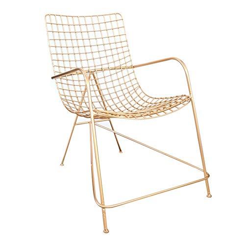 Stoel Nordic net rood goud holle ijzeren stoel balkon buiten creatieve comfortabele recreatieve ligstoel