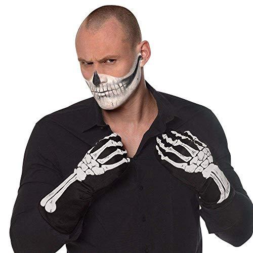 Boland 00824 XL - Guanti da uomo con motivo a osso, colore: nero/bianco