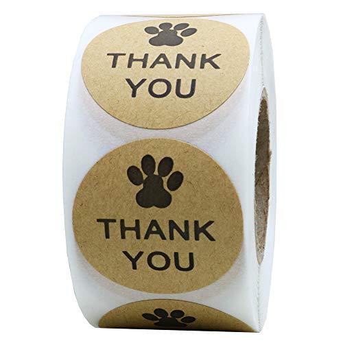 "Hybsk Kraft Paw Print Thank You Stickers Dog Paw Print 1.5"" Round Thank You Labels (Kraft Paper)"