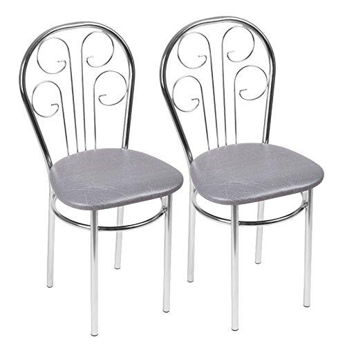 BSD Chaise de Salle à Manger Confortable - Cezar Trapeze - Couleur: Gris - Lot de 2 Chaises