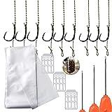 50pcs PVC Bolsas Solubles en Agua + 9 Kit Gancho de Pesca con línea Trenzada Giratorio para Carpa 2# 4# 6# Cables de Pesca Línea de Pesca Líderes de Pesca