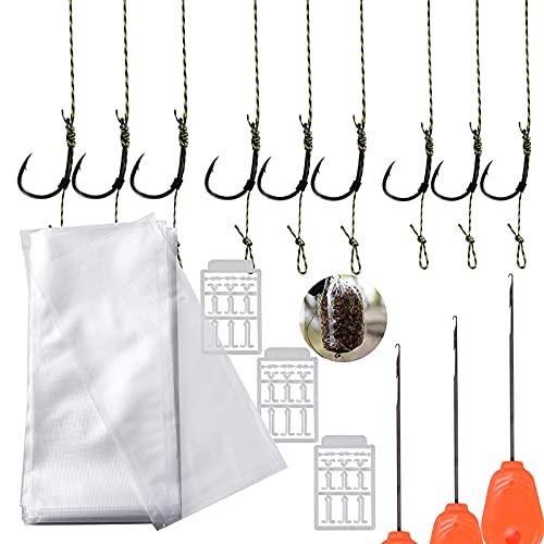 BHGT 3 Set di Ami Curvi Spinati Lenza da Pesca Intrecciato Filo 50 Pz Sacchetti Idrosolubili PVA Attrezzature Accessori per Pescare Carpa 2# 4# 6#