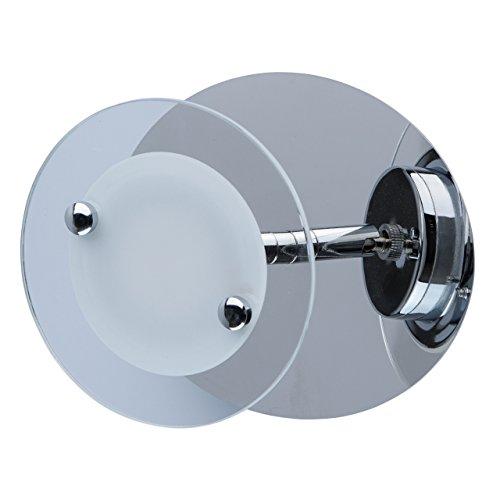 MW-Light 678021201 Applique LED Design Futuristique Moderne Armature en Métal couleur Chrome et en Verre pour Salle de Bain Couloirs 1x5W LED incl.