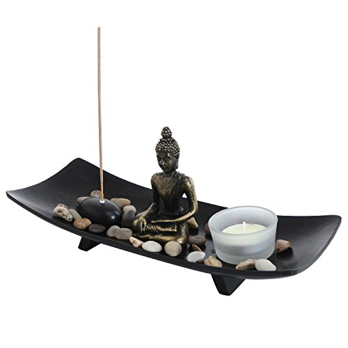 MyGift Zen Garden Buddha Statue with Glass Tealight Candle & Incense Burner Holder, Black