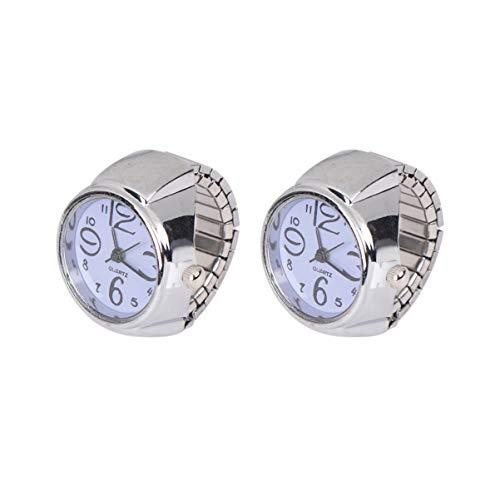 HEMOBLLO 2 Piezas Reloj de Anillo de Dedo de Cuarzo números Romanos Reloj de Dedo Accesorios de visualización de Tiempo Relojes de Regalo para ladeis niñas Mujeres Estudiantes púrpura