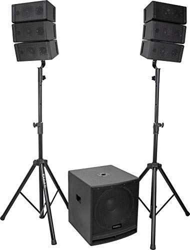 "Ibiza PA Anlage CUBE15A-ARRAY 2.1 LINE ARRAY Aktiv Lautsprecher Set 15\"" Subwoofer DJ Club System Lautsprecher Anlage"