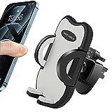 HUYVMAY Soporte de teléfono para rejilla de ventilación de coche universal con clip ajustable compatible con iPhone 12 11 Pro/XS Mas/XR/8/7 Samsung Xiaomi Huawei, 3.5-6.8 pulgadas Teléfono (gris)
