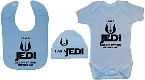 Acce Products I Am a Jedi Like My Father Before Me Body Body Body pour bébé Barboteuse et bonnet 0 à 12 mois - Bleu - XXS