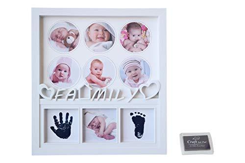 GUTEINTE Kit d'empreintes pour bébé, empreintes pour enfant, kit pour empreintes des pieds et des mains des bébés en encre, Happy Family et Love Baby, cadeau parfait pour les nouveau-nés, 9 photos, blanc