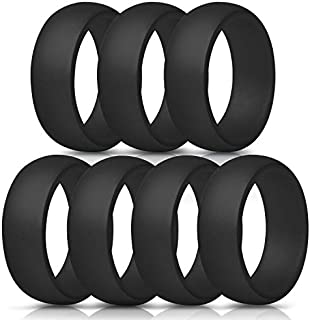 ThunderFit Silicone Rings, 7 Rings / 1 Ring Wedding Bands for Men - 8.7 mm Wide