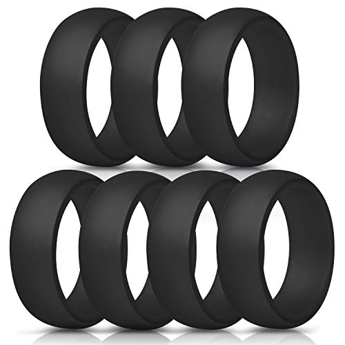 ThunderFit Silicone Rings, 7 Pack/Single Ring Wedding Bands for Men - 8.7 mm Wide (7 Black Rings, 7.5-8 (18.2mm)) ThunderFit