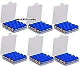 GTIWUNG 6 Piezas Caja de Batería de Plástico, Caja de Almacenamiento para Baterías y Baterías Recargables, Organizador para Pilas- Caja de Batería para 18650 14500 AA y AAA, Transparente