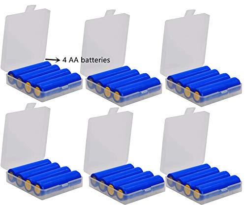 GTIWUNG 6 Stück 18650 Batteriebox aus Kunststoff, Transportbox für Akkus/Batterien, Aufbewahrungsbox für Batterien und Akkus - Akkubox für 18650 AA