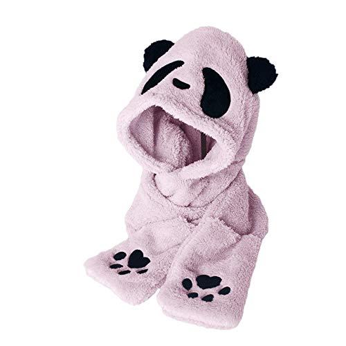 Amphia - Damen Kunstpelz Winter warme Flauschige Kapuze Schal Hut Snood Pocket Hats Handschuhe Panda,Panda Wärme Verdickung Bequeme Mütze Schal Handschuhe dreiteilig(Pink)