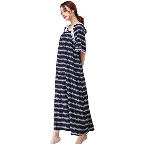 Vrouwelijke Losse Nachthemd Zomer Katoenen Nachthemd Sweet Home Badjas Lace Afgedrukt Nachtkleding Intieme Lingerie