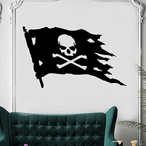 Zdklfm69 Adhesivos Pared Pegatinas de Pared Pirate Skull Bones Flag Mural Art Decoración para el hogar Pegatinas extraíbles para Adolescentes Habitación Vinilo Mural Calcomanía 77x132cm