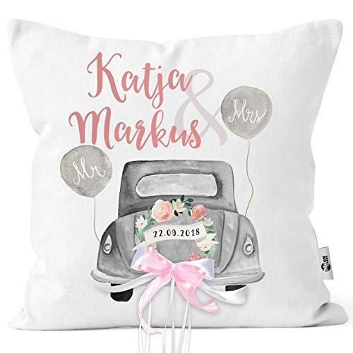 MoonWorks® personalisierbares Kissen zur Hochzeit,Hochzeitskissen Auto Hochzeitsgeschenk Geldgeschenk Kissenhülle mit Schleife mit Schleife 40cm x 40cm
