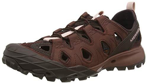 Merrell Choprock Leather Shandal, Zapatillas Impermeables para Mujer, Rojo (Raisin), 41 EU