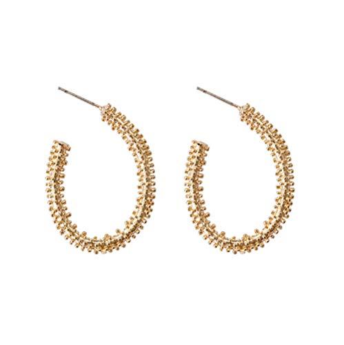 MXHJD Pendientes de aro ovalados de Color dorado de diseño único a la moda, pendientes de círculo abierto con encanto simple para mujer, joyería de moda