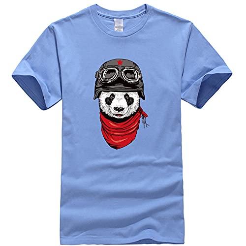 Astemdhj T-shirt men Short sleeve Men'S T-Shirt 100% Cotton T-Shirt Funny Panda Men Loose Cool O-Neck Loose Male Xxl Skyblue