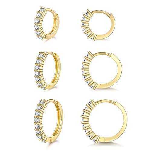 Creolen Silber 925 Ohrringe Set- 3 Paar Creolen Gold Klein Hypoallergen Schlafen Huggie Ohrringe Set mit 5A Zirkonia Geschenke für Damen Mädchen Herren Weihnachten(8/10/12mm)