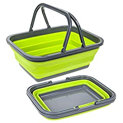 Lime/Grey Summit Pop Folding Basket Made of sturdy silicone. Hygienic & washable, holds water so you could use it as a washing up bowl. Folds down flat for storage. Break resistant