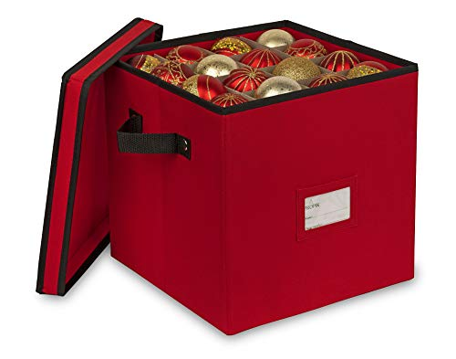 ProPik 64 Christmas Ornament Storage Box, 4 Tier Holds Up to 64 Ornaments Accessories Balls, Holiday Decorations Storage Container with Dividers, Made with Durable 600D Oxford Polyester Material (Red)