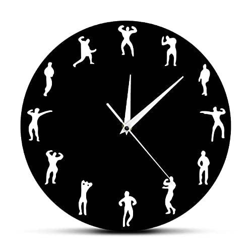 JKLMZYT Reloj de diseño de Gimnasio para Hombre, Reloj de Pared para Fitness, Reloj de Pared Moderno, Reloj Decorativo para Culturismo, decoración de Pared para gimnasio-30X30cm