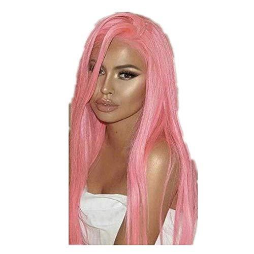 LDSBGJ Lady Lace halflang lang steil haar rechte Barbie roze chemische vezel hoofdbedekking