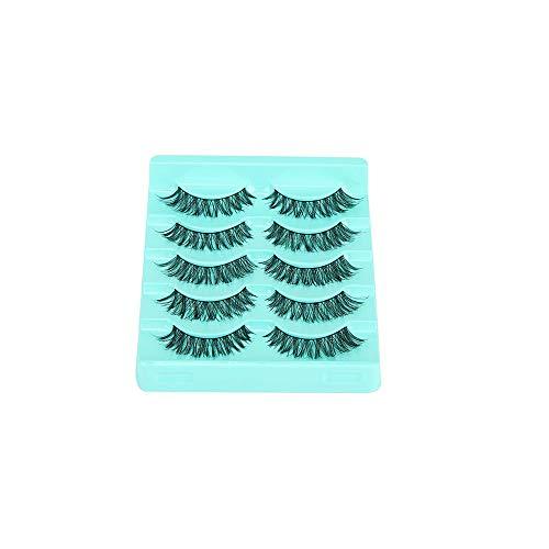 Kapian Falsche Wimpern 3D Pure Handgemacht Langlebige Flauschige Künstliche Wimpern 5 Paar Falsche Wimpern Handgemachte Chaotisch Natürliche Kreuz