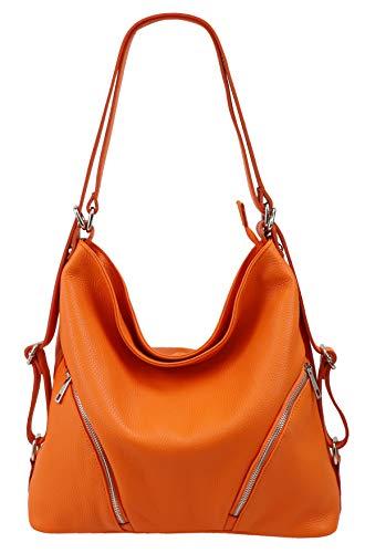 SH Leder Sara G689 - Mochila 2 en 1 (piel granulada, 35 x 34 x 12 cm), color Naranja, talla Large