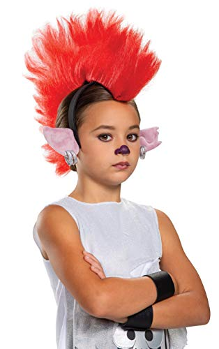 Disguise Trolls World Tour Barb Deluxe Headband, Trolls World Tour Child Costume Accessories, Red Kids Size Movie Character Dress Up Headpiece, Childrens Size (105249)